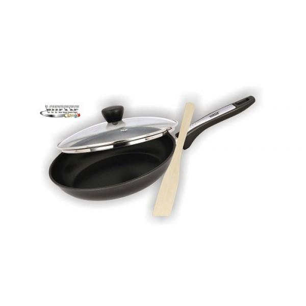 Сковорода с крышкой и деревянной лопаткой (24см) Vitesse VS-7650