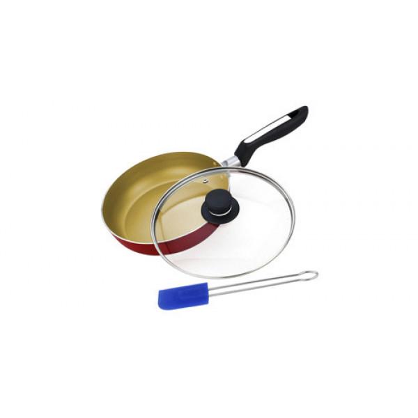 Сковорода алюминиевая с крышкой и лопаткой (24см) Vitesse VS-2205