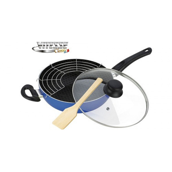 Сковорода алюминиевая WOK с крышкой и лопаткой (28см) Vitesse VS-7408