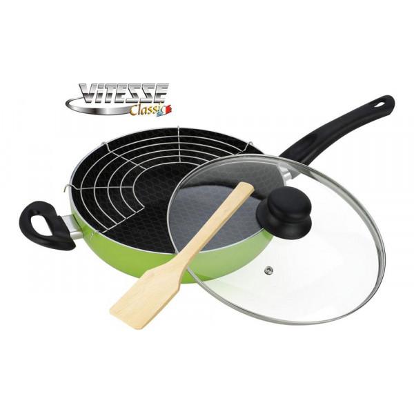 Сковорода алюминиевая WOK с крышкой и лопаткой (26см) Vitesse VS-7407