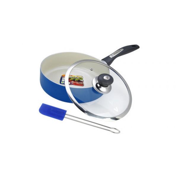 Сковорода алюминиевая с крышкой и лопаткой (24см) Vitesse VS-2202